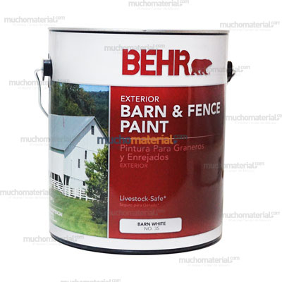 Pint fence barn white gal 03501 behr en for Behr barn and fence paint